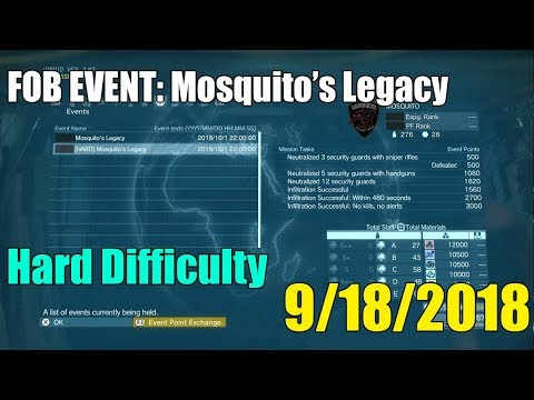 Metal Gear Solid V- FOB Event [Mosquito's Legacy] September 18th, Guide