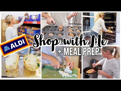 ALDI GROCERY SHOP WITH ME + HAUL WITH EASY HEALTHY MEAL PREP + CROCKPOT MEAL thumbnail
