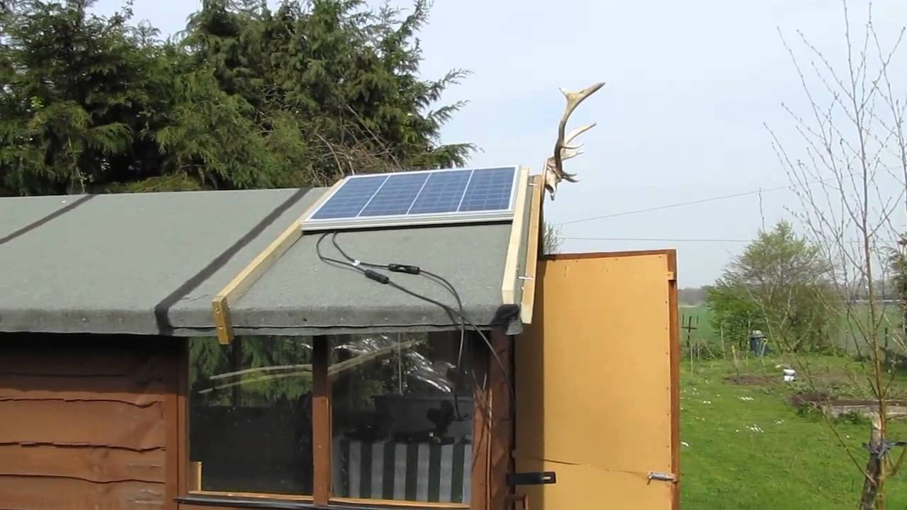 12v Solar Power Shed Setup 50w Solar Panel Youtube