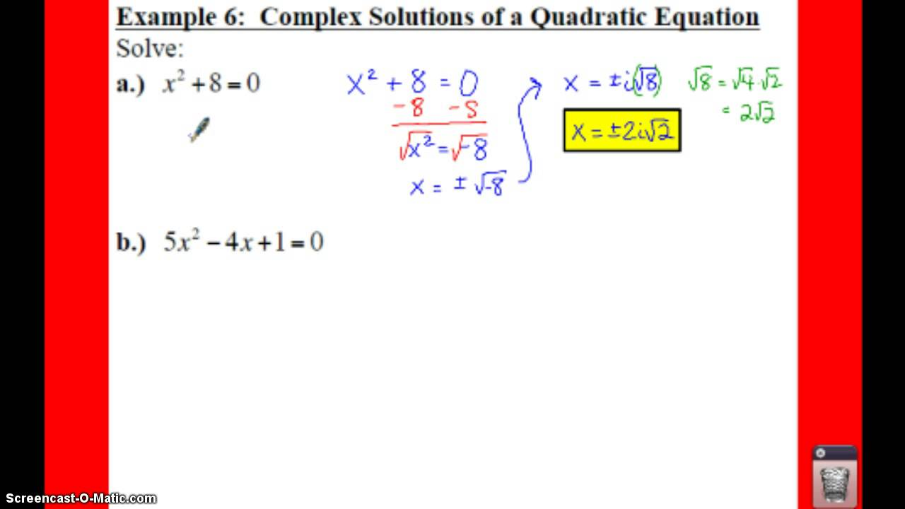 Pre calculus 24 complex numbers lessons tes teach pc 24 notes example 6 complex solutions of a quad eqn falaconquin