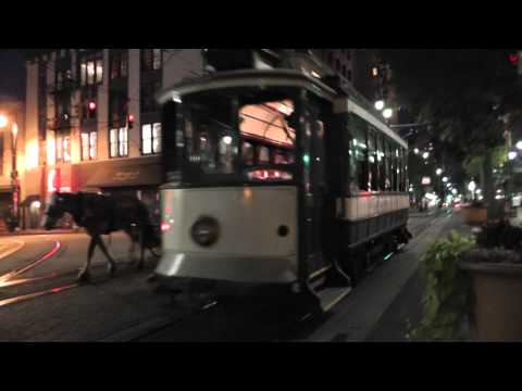 Vintage Trolleys - Trams - Memphis - Night Time
