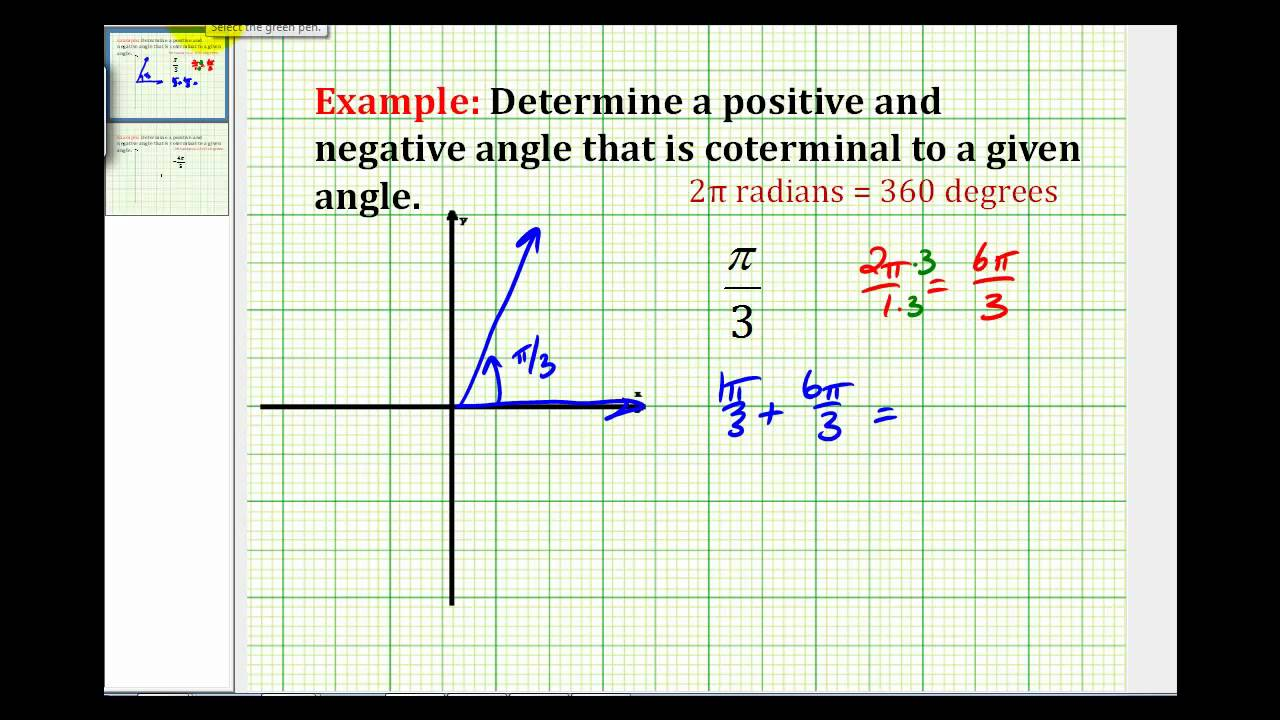 Examples: Determining Coterminal Angles in Radian Measure