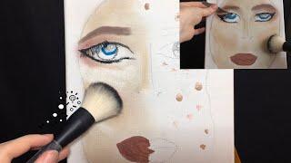ASMR Makeup Application On Canvas | Brushing, Scratching, Soft Speaking