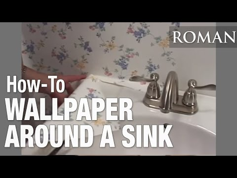 How To Hang A Sink : How to Wallpaper - Hang Around a Pedestal Sink - YouTube