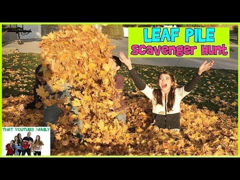GIANT LEAF PILE SCAVENGER HUNT / That YouTub3 Family
