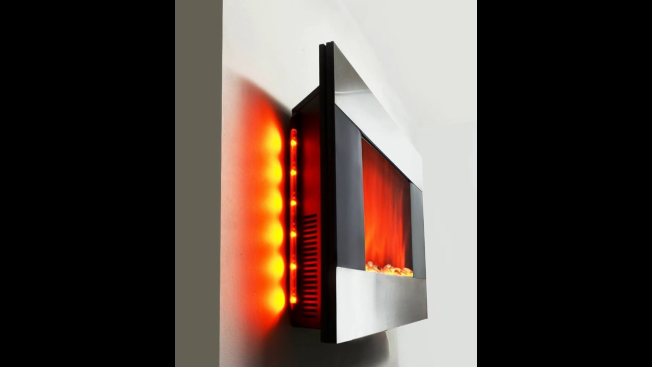 36 Electric Wall Mount Fireplace Heater Gv 510dpb With Remote Control And Backlight