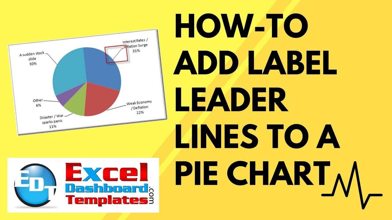 How to add label leader lines an excel pie chart also youtube rh