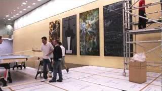 Hanging of Keith Tyson's '12 Harmonics', Deutsche Bank London - timelapse