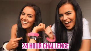 24 Hours Handcuffed To My Identical Twin Sister Challenge! This Was Torture! The Perry Twins Vlog