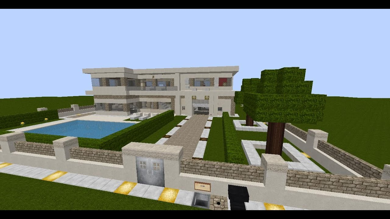 minecraft moderne luxus villa mit moderner einrichtung und viel redstone download neu youtube. Black Bedroom Furniture Sets. Home Design Ideas