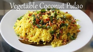 Vegetarian Coconut Rice Recipe  Quick & Easy Indian Lunch & Dinner Recipes by Shilpi