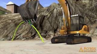 Repeat youtube video Excavator simulation - Simulation de pelle à chenilles Acreos