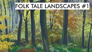 Folk Tale Landscapes #1   Dark trees in gouache