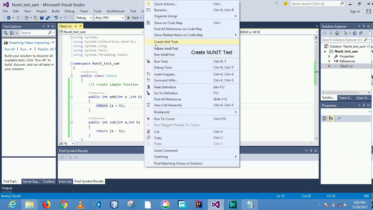 12. Selenium 2018 tutorial using c# visual studio nunit test.