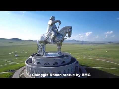 Chinggis khaan statue complex by drone