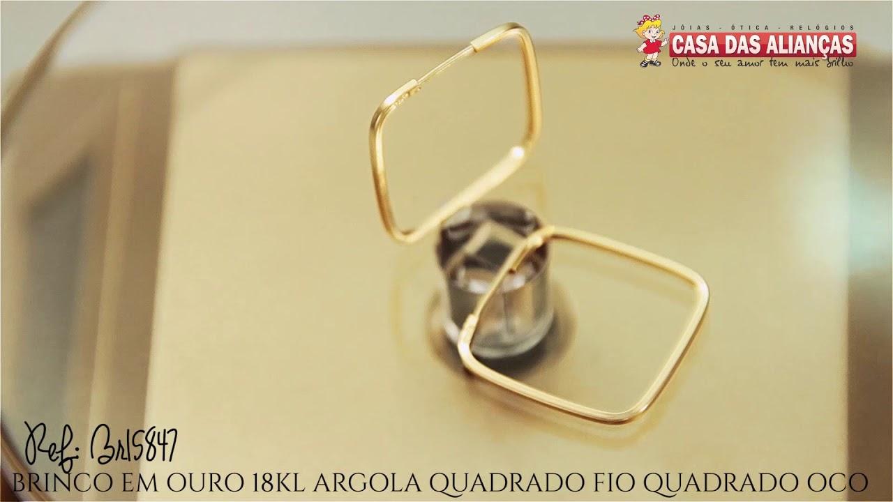 56e03edd4a7a5 BRINCO EM OURO 18KL ARGOLA QUADRADO FIO QUADRADO OCO - BR15847 - YouTube