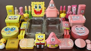 "Mixing""SpongeBob VS PatrickStar"" Eyeshadow and Makeup Into Slime!Satisfying Slime Video!★ASMR★"