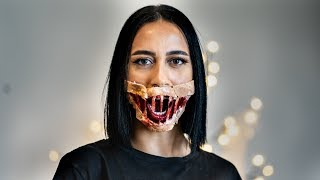 Scary Halloween bloody mouth SFX makeup