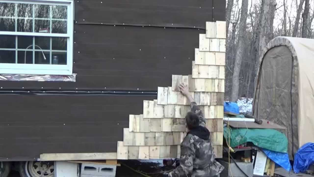 Making Tiny House Pallet Wood Shake Siding In Fast Motion