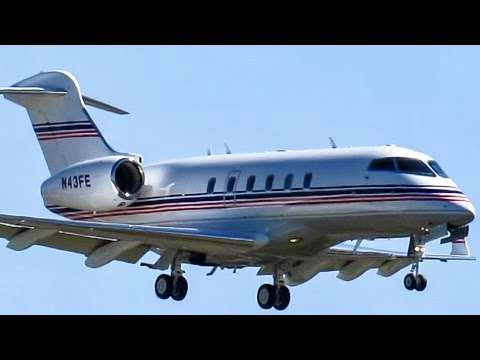 Fedex Challenger 300 (CL30) landing & taxiing at Montreal (YUL)