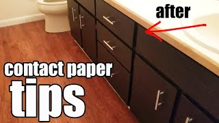 Applying Contact Paper in our Bathroom - Tips for Cabinets and Drawers makeover DIY easier
