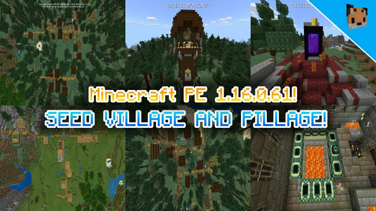 Minecraft Pe 1 16 0 61 Update Seed Village And Pillage Mcpe Seed 1 16 0 16 Seed Stronghold Youtube
