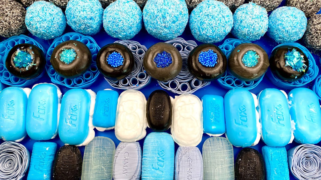 ASMR soap boxes with foam 💙 Small soap cubes 🖤 Crushing soap balls 💙 Clay cracking 🖤