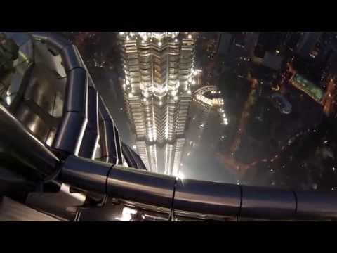 2015 Formula 1: Nico Rosberg climbs the PETRONAS Towers in Malaysia