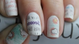 newspaper nail art with water (colourful + fun)