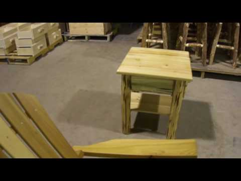 Amish Made Montana Log Furniture Nightstand with Shelf and Drawer by Montana Woodworks