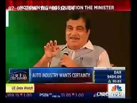 Nitin Gadkari at CNBC TV18 Auto CEO summit