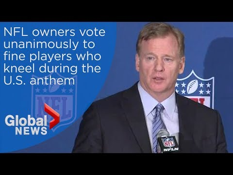 NFL commissioner Roger Goodell announces new policy to fine kneeling during anthem