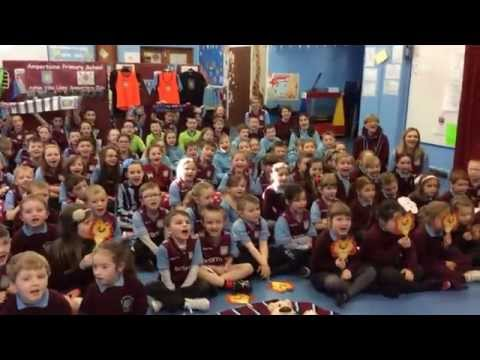 Primary school sing 'Aston Villa That's Who!' to wish the club luck at Wembley!