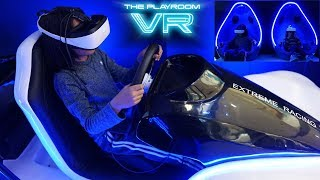 Virtual Reality Arcade Racing Game Playtime with Hulyan and Maya. Ride-On Power Wheels for Kids