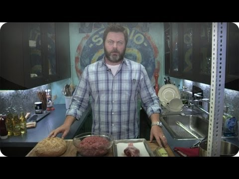 Late Night Eats  Nick Offerman Makes A Ron Swanson Turkey Burger Late Night with Jimmy Fallon
