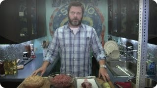 Late Night Eats - Nick Offerman Makes A Ron Swanson Turkey Burger (Late Night with Jimmy Fallon)