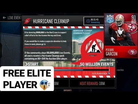 Madden Mobile 18 *FREE ELITE PLAYER* (Hurricane Clean Up) Community Event