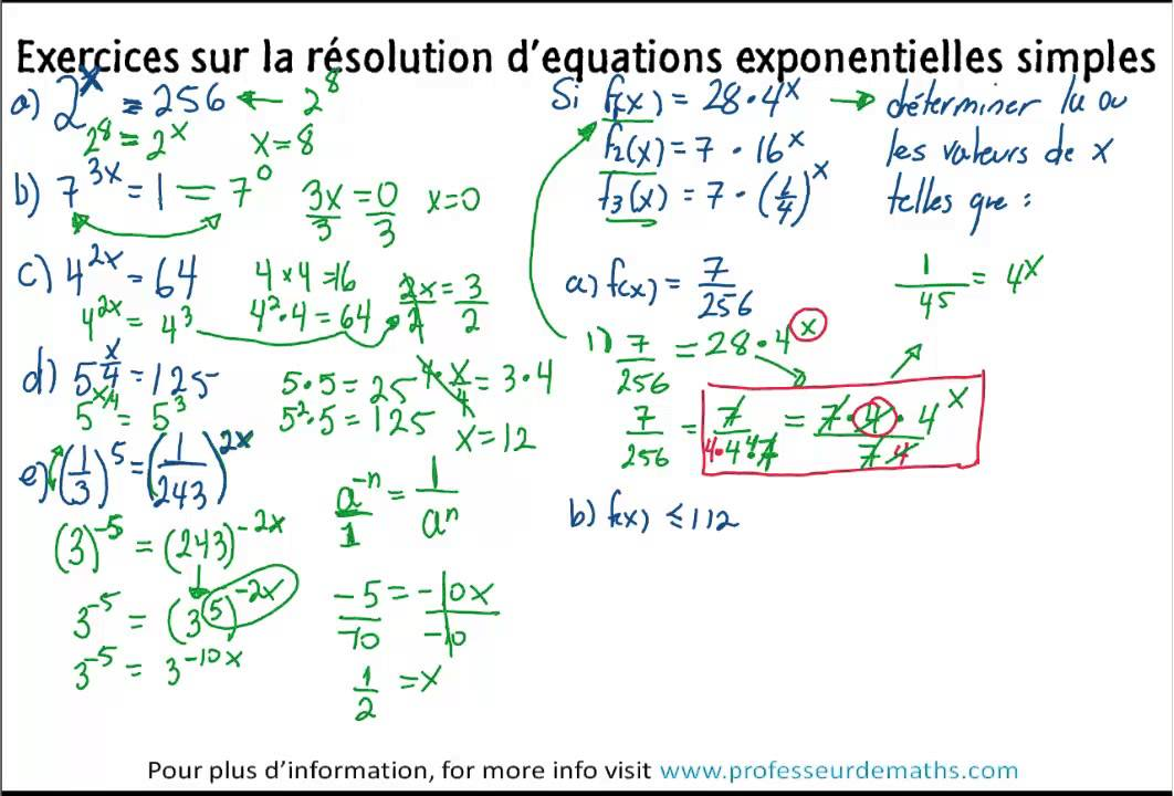 Exercices Sur La Resolution D U0026 39  U00e9quation Exponentielles