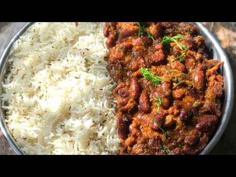 Dhaba style rajma masala with jeera rice recipe rajma chawal recipe kidney beans curry