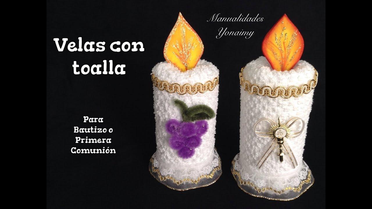 Velas hechas con toallas faciales para recuerdos de - Manualidades para comunion de nina ...