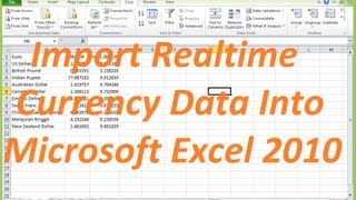 Add Realtime Currency Data into Excel