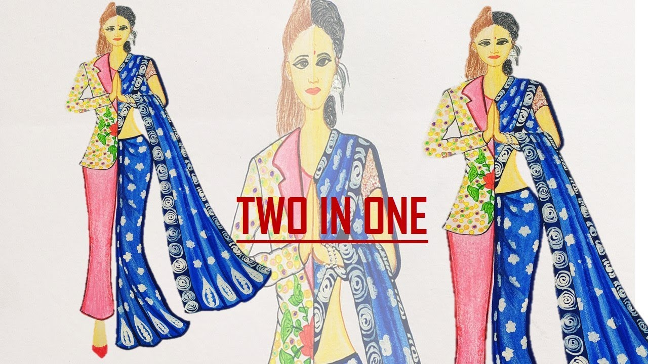 Today S Womens Women Dress Part 1 Fashion Illustration Indian Saree Western Suit Speed Video Youtube