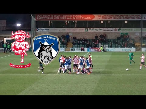 PLAYERS SCRAP AND ELECTRIC ATMOSPHERE!! LINCOLN CITY VS OLDHAM ATHLETIC VLOG