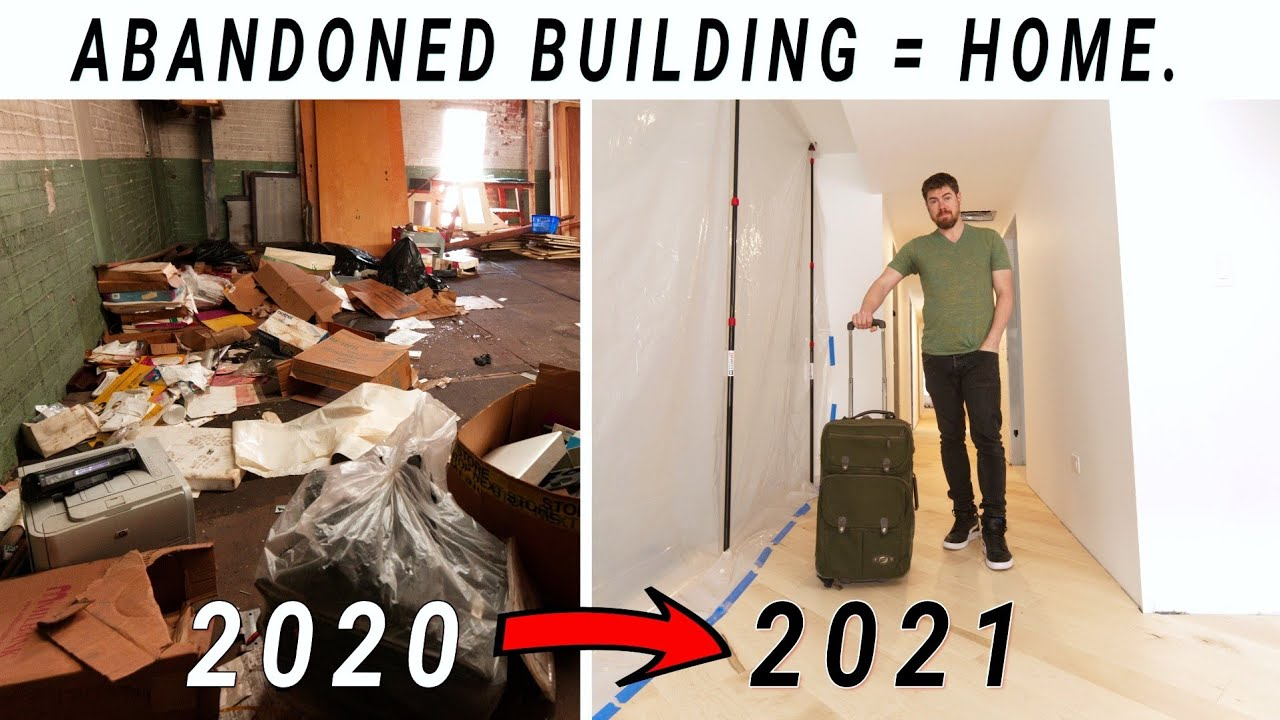 MOVING IN to the ABANDONED Building!!  ... BEFORE/AFTER Tour // Ep. 20
