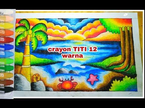 Menggambar dan mewarnai dengan crayon TITI 12 warna || tema laut