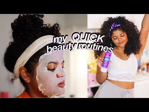 my 3 minute beauty routines! (aussie hair, skincare, makeup)| leahallyannah