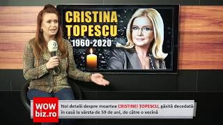 Noi detalii despre moartea Cristinei Topescu, gasita decedata! Dana Lutu, detalii de ultima ora!