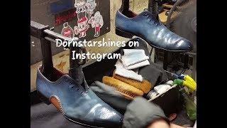 Best Shoe shine, Blue shoes, fake blews [ASMR]