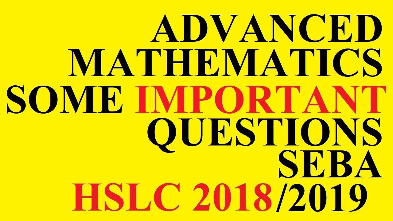 HSLC Advanced Maths Important Questions | Assamese & English