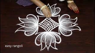 Latest easy rangoli art designs by Suneetha || simple cute lotus kolam || small muggulu